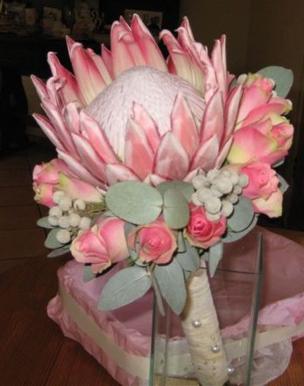King Protea with Pink Roses